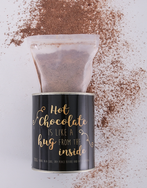 coffee-and-tea: Personalised Black and Gold Hot Chocolate Tin!