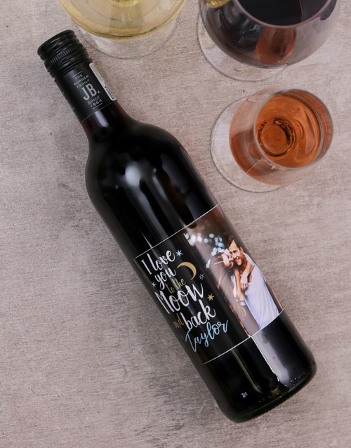 personalised: Moon and Back Personalised Photo Wine!