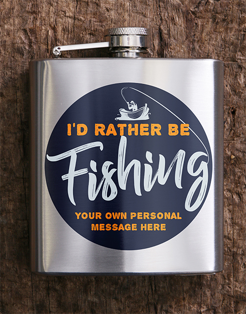 flasks: Personalised Gone Fishing Hip Flask!