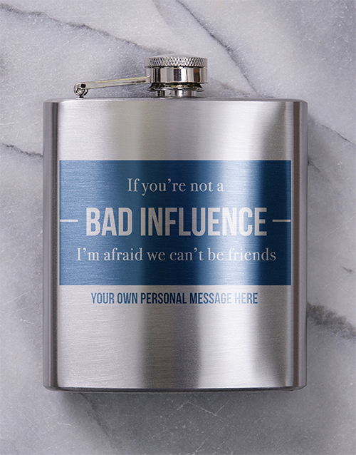 fine-alcohol: Personalised Bad Influence Hip Flask!