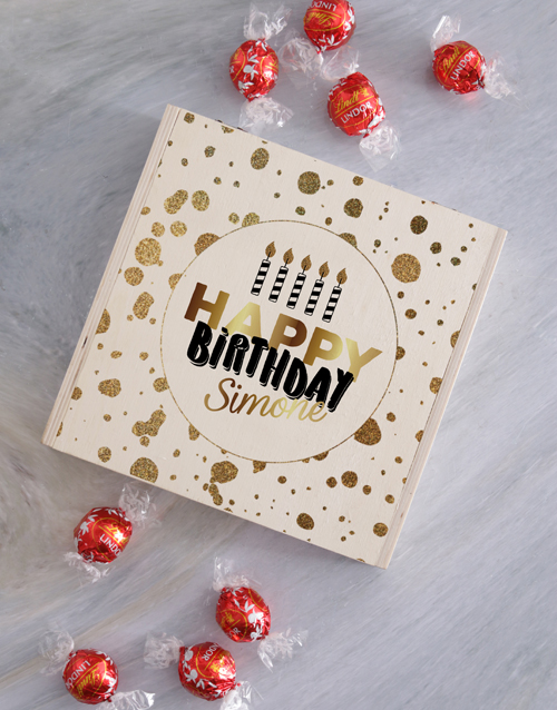 chocolate: Personalised Wooden Birthday Gold Box!