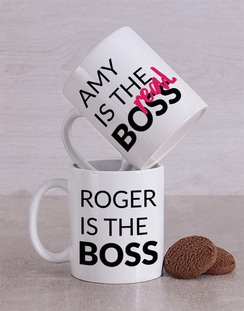 personalised: Personalised Boss Couples Mug Set!