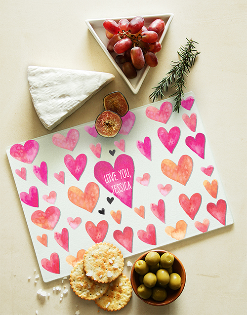 homeware: Hearts Personalised Glass Chopping Board!
