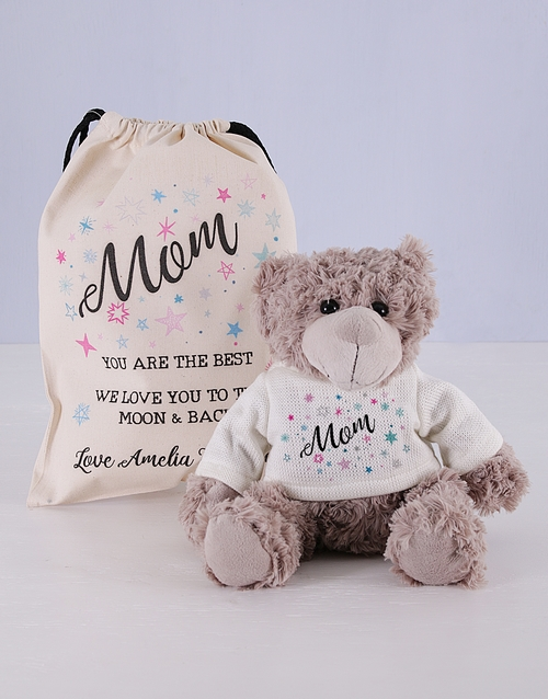 teddy-bears: Personalised Mom Teddy Jersey Matching Drawstring!