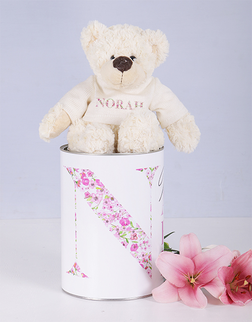 teddy-bears: Personalised Mom Teddy jersey matching tin !