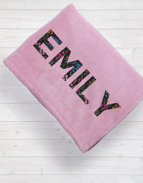christmas: Personalised Dainty Floral Fleece Blanket!