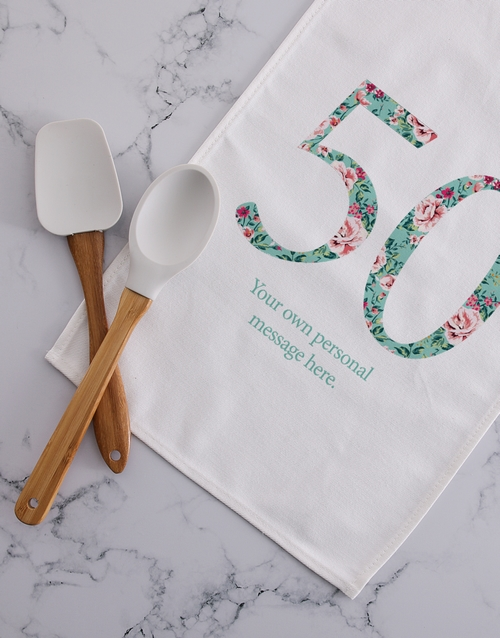 homeware: Personalised floral for fifty tea towel!