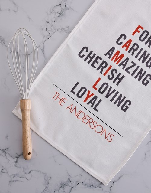 homeware: Personalised family tea towel!
