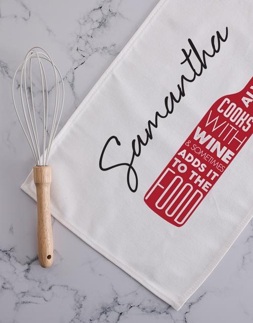 homeware: Personalised cook with wine tea towel!