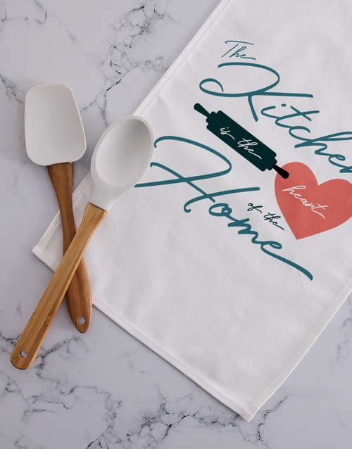 homeware: Personalised heart of the home tea towel!