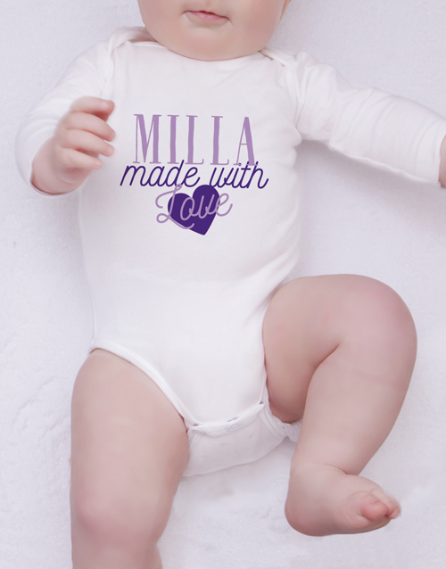baby: Personalised Made With Love Onesie!
