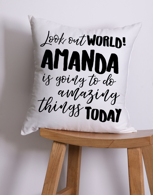 get-well: Personalised Look Out World Scatter Cushion!