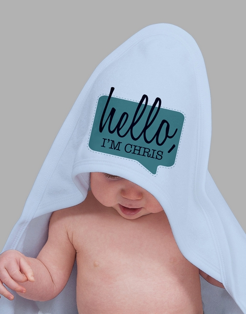 baby: Personalised Hello Hooded Towel!