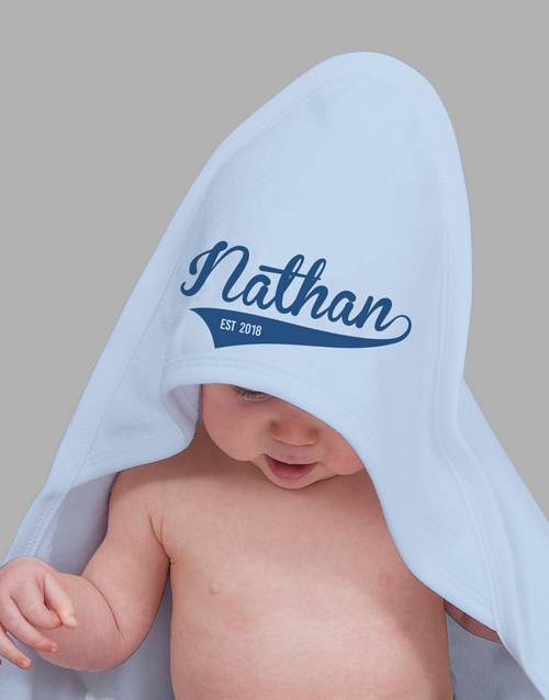 baby: Personalised Baseball Hooded Towel!