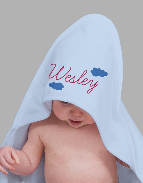 baby: Personalised In The Clouds Hooded Towel!