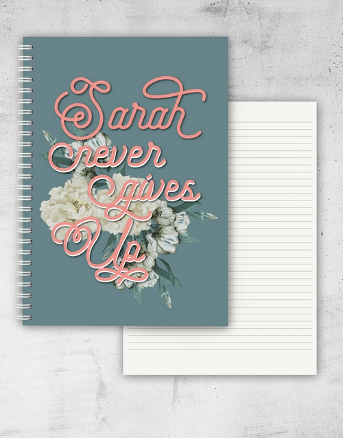 personalised: Personalised Never Give Up Notebook!