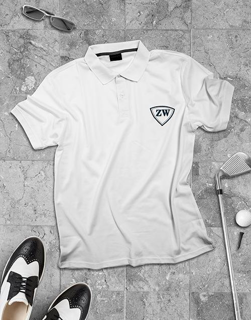 clothing: Personalised White Mens Golfer!