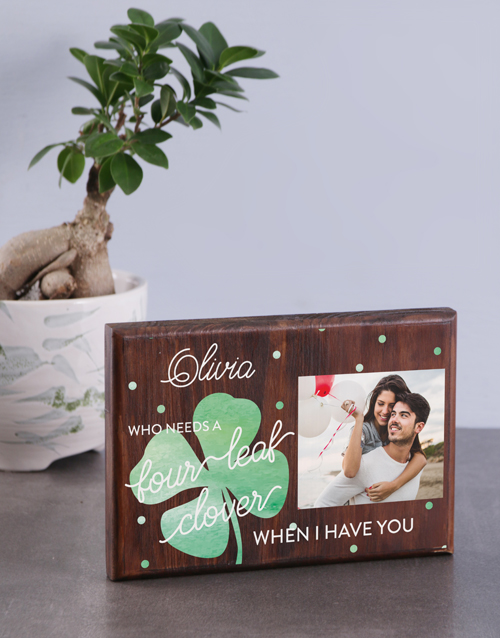home-decor: Personalised Four Leaf Clover Wooden Photo Block!