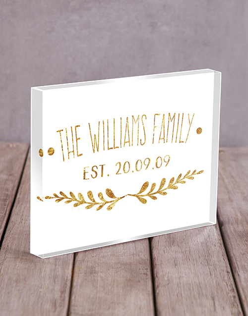 home-decor: Personalised Gold Family Acrylic Block!