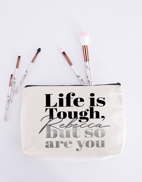 personalised: Personalised Life Is Tough Cosmetic Bag!