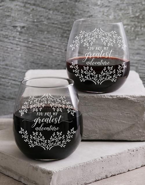 anniversary: Personalised My Greatest Adventure Wine Glass Set!