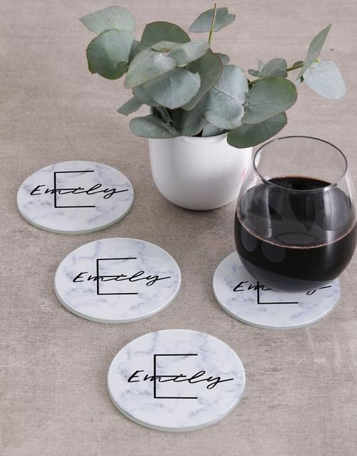 prices: Personalised Marble Monogram Coasters!