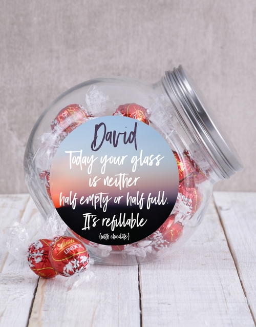 candy-jars: Personalised Glass Half Full Candy Jar!