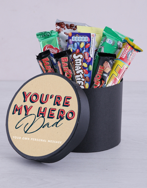 fathers-day: Personalised My Hero Chocolate Hat Box!