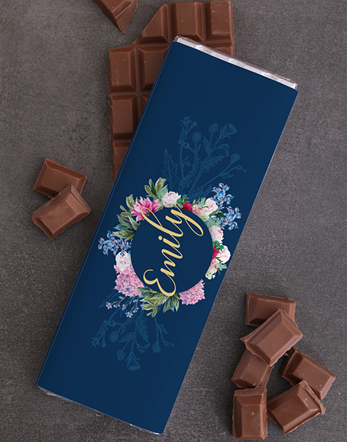 womens-day: Personalised Floral Chocolate Slab!