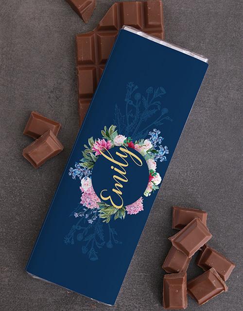 spring-day: Personalised Floral Chocolate Slab!