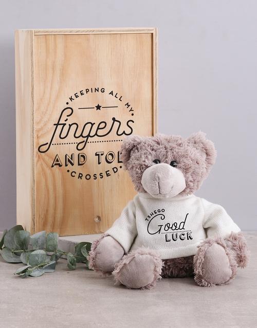 teddy-bears: Personalised Luck Teddy in Box!