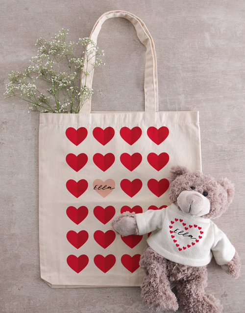 teddy-bears: Personalised Heart Teddy in Tote Bag!