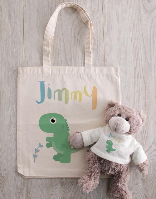 teddy-bears: Personalised Teddy in Dinosaur Tote Bag!