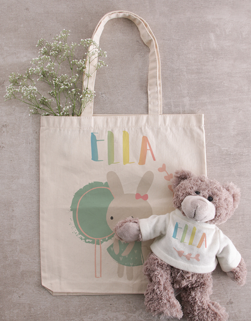baby: Personalised Bunny Teddy in Tote Bag!