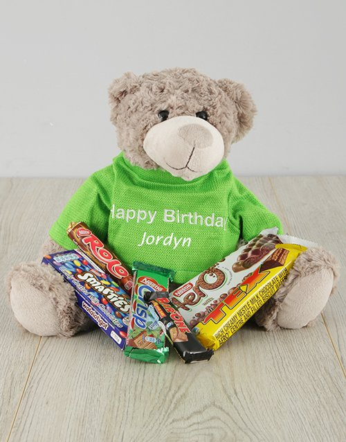 chocolate: Personalised Happy Birthday Teddy and Chocs!