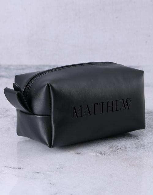 personalised: Personalised Leatherette Gents Black Wash Bag!