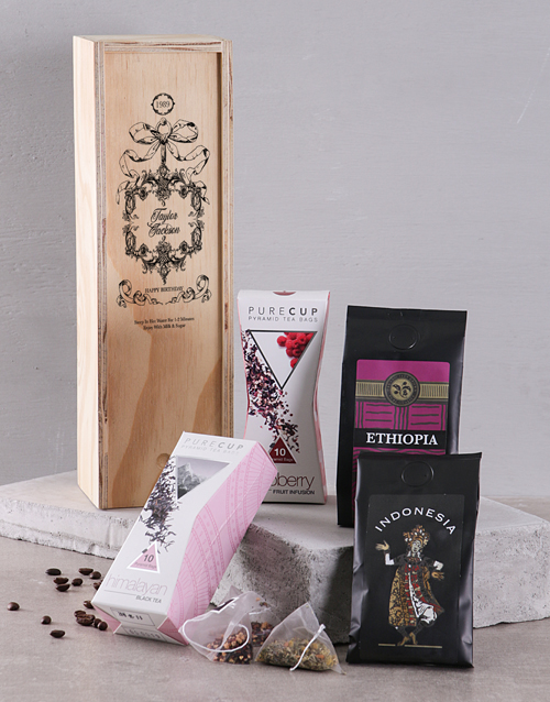 coffee: Personalised Coffee and Tea in a Wood Crate!