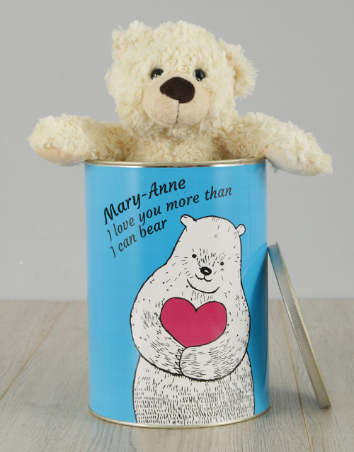 teddy-bears: Personalised Love You Teddy Tin!