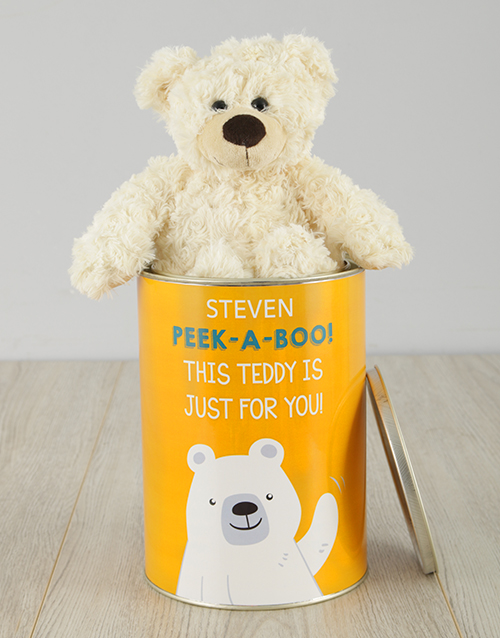 personalised: Personalised Peek A Boo Teddy Tin!