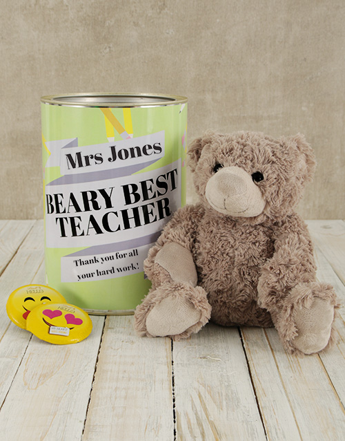 teachers-day: Personalised Best Teacher Teddy Tin!