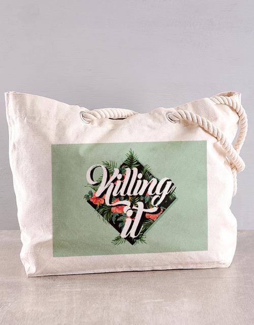 activewear: Personalised Killing It Floral Beach Bag!