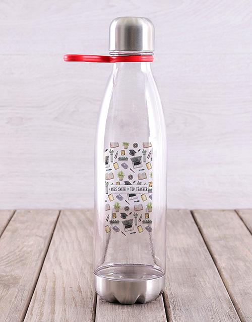 personalised: Personalised Top Teacher Water Bottle!