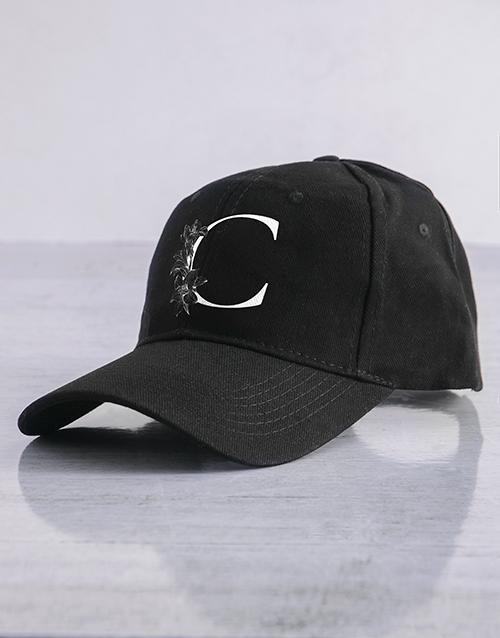 gifts: Personalised Black Lily Initial Peak Cap!