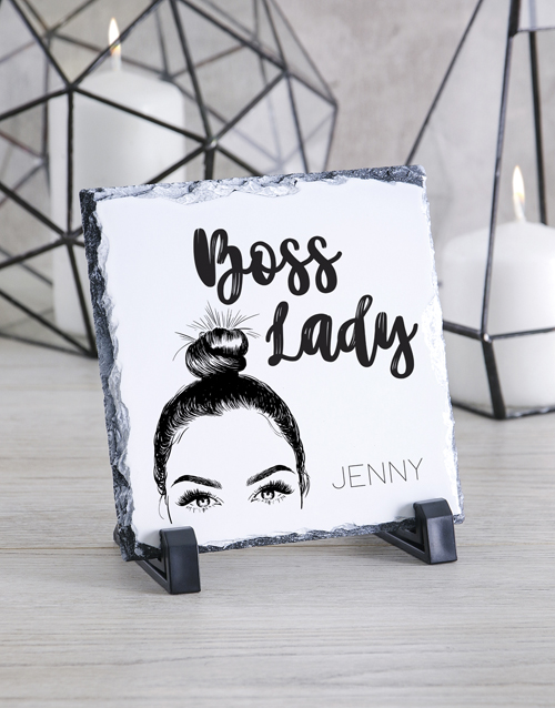bosses-day: Personalised Boss Lady Glass And Stone Tiles!