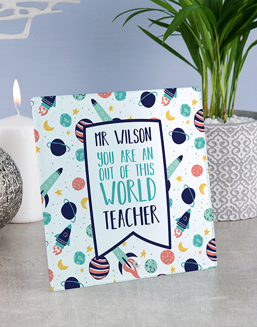 home-decor: Personalised World Teacher Glass Tile!