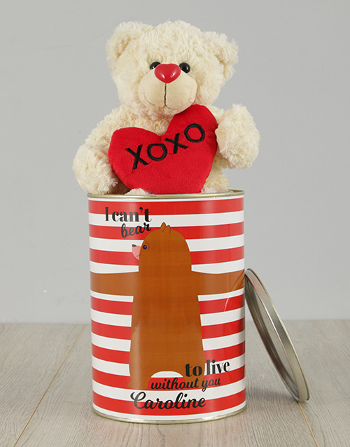 personalised: Personalised Live Without You Teddy Tin!