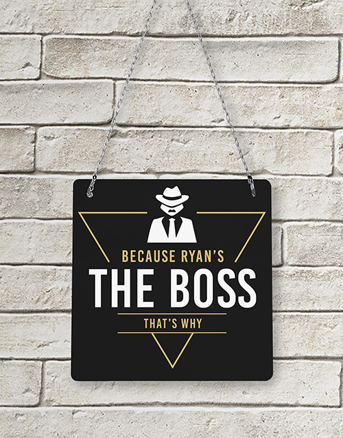 gifts: Personalised The Boss Metal Sign!