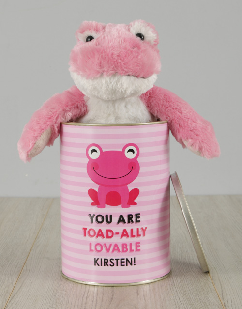 teddy-bears: Personalised Pink Frog Love Tin!