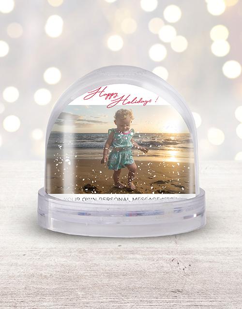 home-decor: Personalised Happy Holidays Photo Snow Globe!