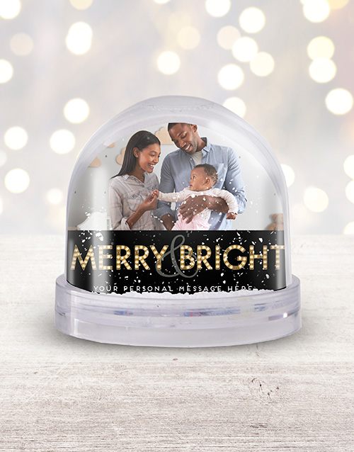 christmas: Personalised Merry & Bright Photo Snow Globe!